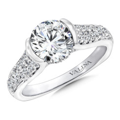 Valina Round Side Stone Engagement Ring R9663W