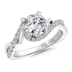 Valina Round Criss Cross Engagement Ring R9667W
