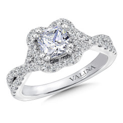 Valina Cushion Shape Side Stone Engagement Ring R9675W