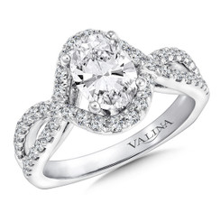 Valina Oval Criss Cross Engagement Ring R9676W
