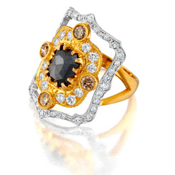 Suneera Lakshmi Black Ring