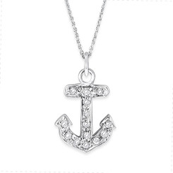 KC Designs Diamond Small Anchor Necklace with 14 Diamonds Weighing .10 carats