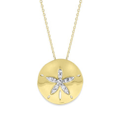 KC Designs Diamond Sand Dollar Necklace with 11 Diamonds Weighing .20 carats N1694