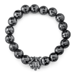 Borgioni 14K Black Rhodium Gold & Diamond Medusa on Faceted Hematite Beaded Bracelet
