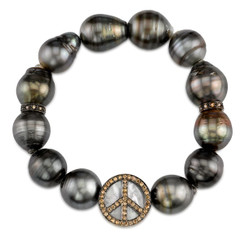 Borgioni 14K Black Rhodium Gold, Brown Diamond Mother of Pearl Ebony Wood Peace Bead on Multi Color Black Tahitian Pearl Bracelet