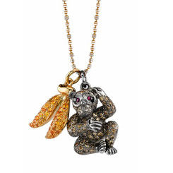 Borgioni 18K Yellow Gold, Pavé Brown Diamond Monkey & Yellow Sapphire Banana Charm