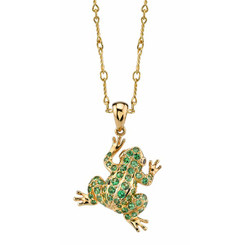 Borgioni 18K Yellow Gold, Tsavourite Frog on 18K Yellow Gold Twisted Snaffle Chain