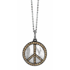 Borgioni 18K Black Rhodium Gold, Brown Diamond & Mother of Pearl Peace Pendent