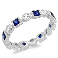 Beverley K White Sapphire and Sapphire Ring R9996-WSS