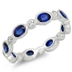 Beverley K White Sapphire and Sapphire Ring R9998-WSS