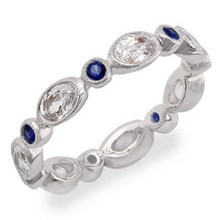 Beverley K White Sapphire and Sapphire Ring R9999-WSS