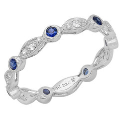 Beverley K White Sapphire and Sapphire Ring R10010-WSS