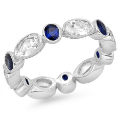 Beverley K White Sapphire and Sapphire Ring R10048-WSS