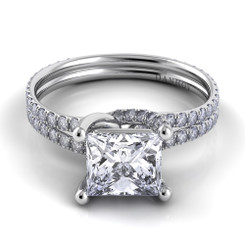 Danhov Eleganza Princess Solitaire Double Shank Engagement Ring ZE108-PR