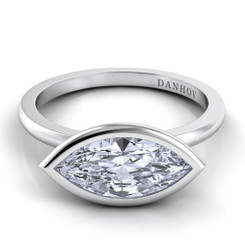 Danhov Per Lei Marquis East West Solitaire Single Shank Engagement Ring LE100-MQEW