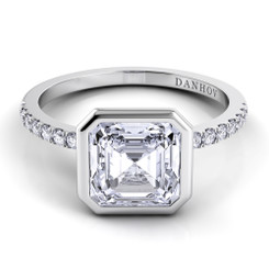 Danhov Per Lei Asscher Solitaire Single Shank Engagement Ring LE103-AS