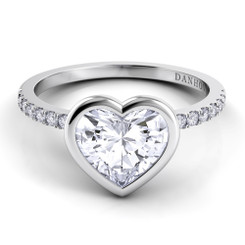 Danhov Per Lei Heart Shape Solitaire Single Shank Engagement Ring LE103-HS