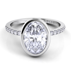 Danhov Per Lei Oval Solitaire Single Shank Engagement Ring LE103-OV