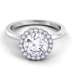 Danhov Per Lei Round Halo Single Shank Engagement Ring LE104