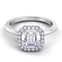 Danhov Per Lei Asscher Halo Single Shank Engagement Ring LE104-AS