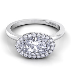 Danhov Per Lei Oval East West Halo Single Shank Engagement Ring LE104-OVEW
