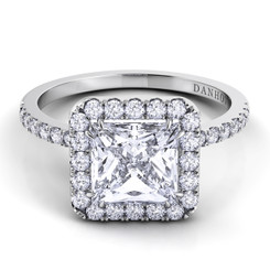 Danhov Per Lei Princess Halo Single Shank Engagement Ring LE105-PR