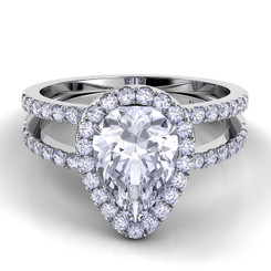 Danhov Per Lei Pear Shape Halo Double Shank Engagement Ring LE106-PS