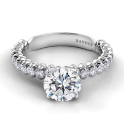Danhov Petalo Round Solitaire Single Shank Engagement Ring FE106