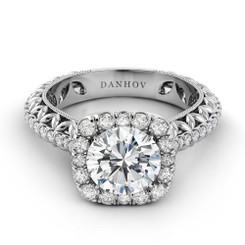 Danhov Petalo Round Halo Diamond Engagement Ring FE109
