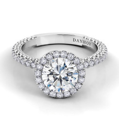 Danhov Petalo Round Halo Engagement Ring FE110