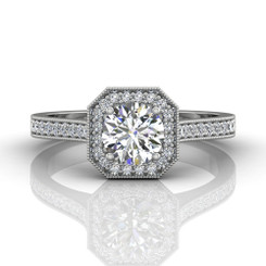 Martin Flyer Bead Set Micropave Halo Engagement Ring 5204SACQ-F-5.5RD