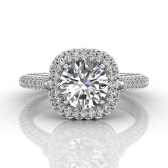 Martin Flyer Pave Micro Pave Halo Engagement Ring 5211SCUEQ-F-7.5RD