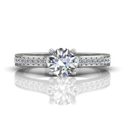 Martin Flyer Bead Set Micropave Engagement Ring DERM3XSQ-F-6.0RD