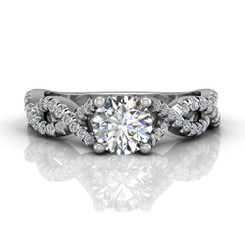 Martin Flyer Cutdown Micropave Halo Engagement Ring DERM58SQ-F-6.5RD