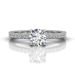 Martin Flyer Cutdown Micropave Hand Engraved Engagement Ring DERM5XSQ-AENG-F-5.7RD