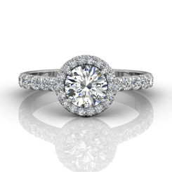 Martin Flyer Cutdown Micropave Halo Engagement Ring DERMH4SQ-F-6.5RD