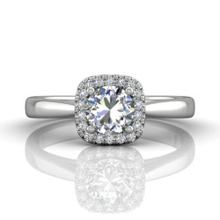 Martin Flyer Solitaire Halo Engagement Ring DERSH01XSCUQ-F-6.0RD