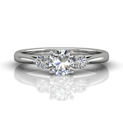 Martin Flyer Three Stone Engagement Ring DERT02XSQ-F-5.5RD