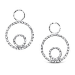 KC Designs Diamond Double Circle Earring Charms in 14k White Gold with 86 Diamonds weighing .18 Carats CH12359
