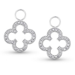 KC Designs Diamond Clover Earring Charms in 14k White Gold with 72 Diamonds weighing .32 Carats CH5415