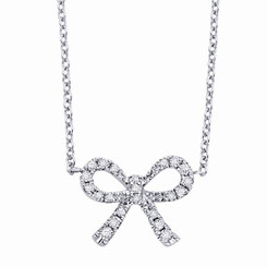 KC Designs Diamond Mini Bow Necklace with 22 Diamonds weighing .10 Carats N10277