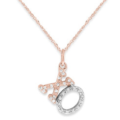 "KC Designs Diamond ""XO"" Necklace in 14k White and Rose Gold with 27 Diamonds weighing .09 Carats N12352"