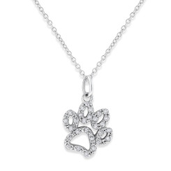 KC Designs Small Diamond Paw Necklace with 28 Diamonds weighing .14 Carats N11867
