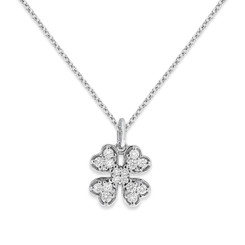 KC Designs Diamond Large Clover Necklace with 16 Diamonds N12686 weighing .24 carats