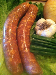Fresh pork sausage w/garlic(4 in a pack)