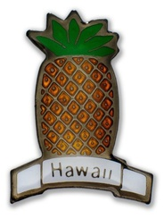 Hawaii Lapel Or Hat Pin Pineapple Green, Yellow