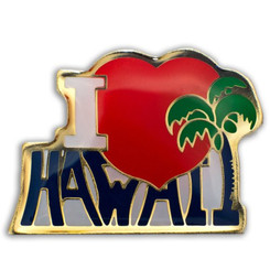 Hawaii Lapel Or Hat Pin I Love Red, Silver