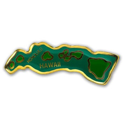 Hawaii Lapel Or Hat Pin Islands Map Green, Gold
