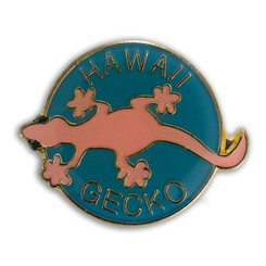 Hawaii Lapel Or Hat Pin Gecko Pink, Teal