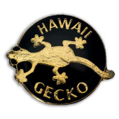 Hawaii Lapel Or Hat Pin Gecko #2 Black, Gold